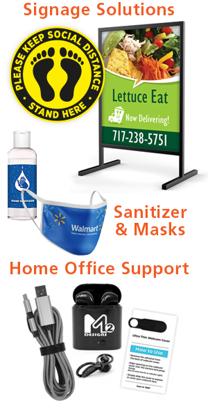 Signs, Sanitizer, Masks, and more.